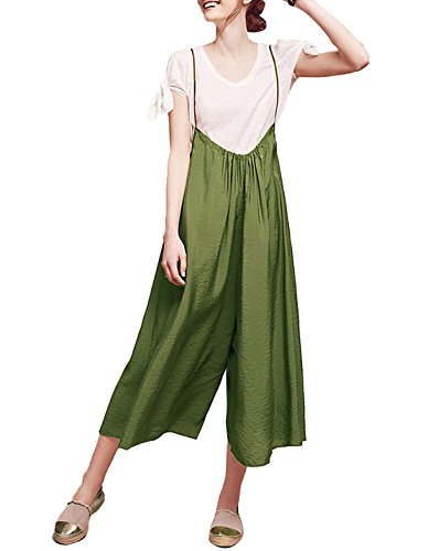hodoyi Womens Loose Strappy Wide Leg Cropped Trousers Suspender Jumpsuit(XL,Army (Women's Western Outfits)