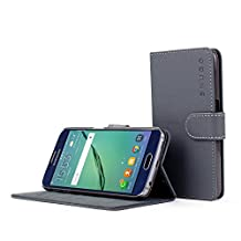 Galaxy S6 Case, Snugg Grey Leather Flip Case [Card Slots] Executive Samsung Galaxy S6 Wallet Case Cover and Stand [Lifetime Guarantee] - Legacy Series