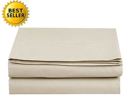 Luxury Fitted Sheet on Amazon Elegant Comfort Wrinkle-Free 1500 Thread Count Egyptian Quality 1-Piece Fitted Sheet, Queen Size, Cream