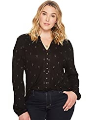 Lucky Brand Womens Plus Size Printed Button up Shirt