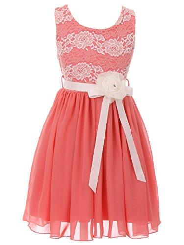 BluNight Collection Little Girls Elegant Round Neck Chiffon Summer Wedding Birthday Party Flower Girl Dress Coral 6 (2J1K38S)