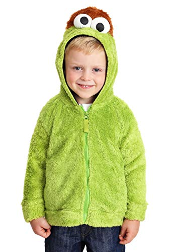 Sesame Street Toddler Boys' Fuzzy Costume Hoodie (Multiple Characters), Oscar The Grouch Green, 2T -