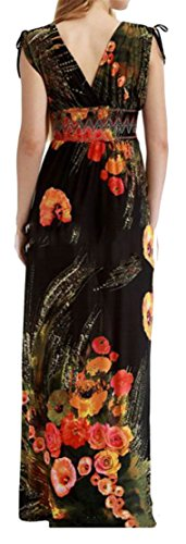 Women's Floral Cromoncent Black Plus Maxi Printed Ice Size V Beach Neck Loose Bandage Dress Y44dq