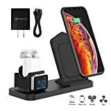 Wireless Charger Stand with Cooling Fan, 3 in 1 Charging Station Dock for AirPods, Wireless Charging for Apple iWatch 4/3/2 & iPhone Xs MAX/XR/XS, Fast Charging for Samsung Galaxy S10/S10+/S9, Black