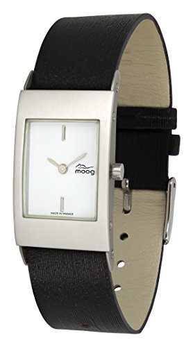 Moog Paris ALU Women's Watch with White Dial, Black Strap in Jeans - M00011-403