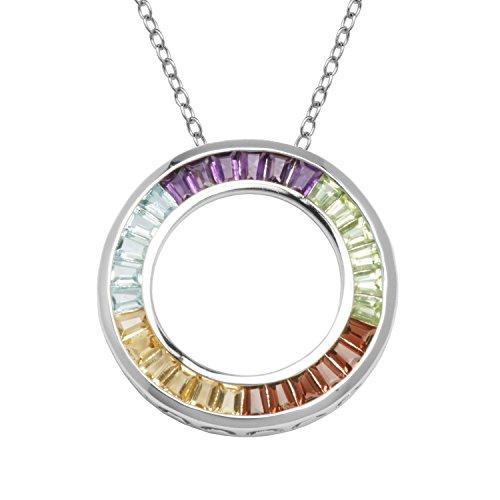 Multi Gemstone Circle Pendant - Platinum Plated Sterling Silver Multi Gemstone Circle Pendant, 18