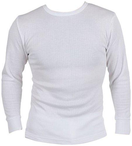 Herren Thermo-Unterwäsche Langarm T-Shirt-Weste-Spitze (XX Große - XXLarge, Weiß)