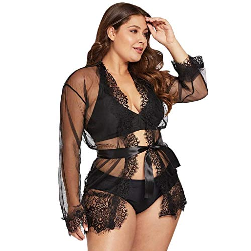 POQOQ Underwear Women Sexy Plus Size Eyelash Lace Trim Robe + Belt Sleepwear Lingerie(Black,M)