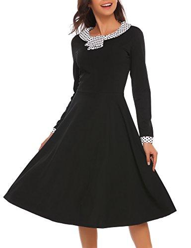 46ede3391bd ACEVOG Damen 50s Vintage Rockabilly Kleid A Linie Langarm Swing Kleid  Knielang Cocktailkleider Partykleider Sommerkleider mit