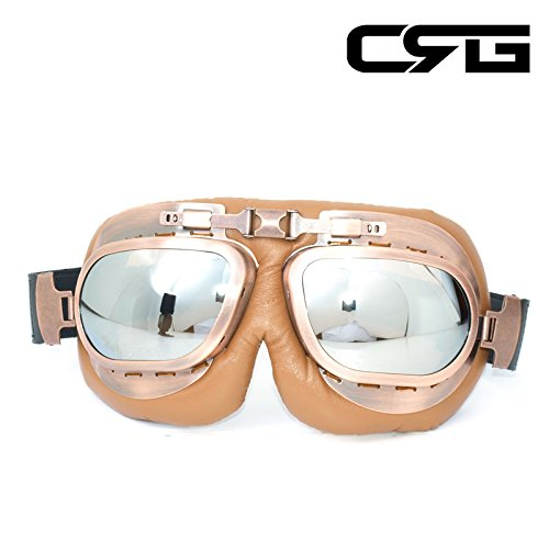 (CRG Sports Vintage Aviator Pilot Style Motorcycle Cruiser Scooter Goggle T12 T12NSN Silver lens, copper color frame, brown padding)