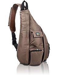 Crossbody Sling Bag - Over Shoulder Backpack for Men & Women with Single Strap (Brown)