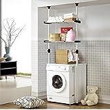 PRINCE HANGER Double Adjustable Laundry Shelf | Clothing Rack & Amazon.com: Household Essentials Over-the-washer Storage Shelf ...