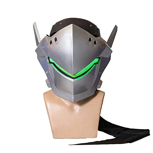 OW Genji Mask Light-up Eyes 1:1 Props Knight Genji Wearable Cosplay Helmet Game Anime Costume Accessory Prop Silver