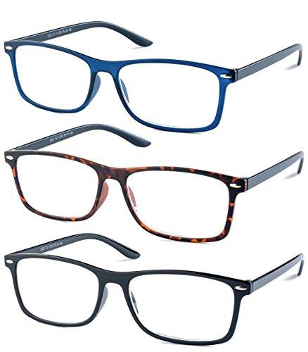 Specs Lightweight Reading Glasses - Pack of 3 (Blue, Tortoise, Shiny Black) +2.50