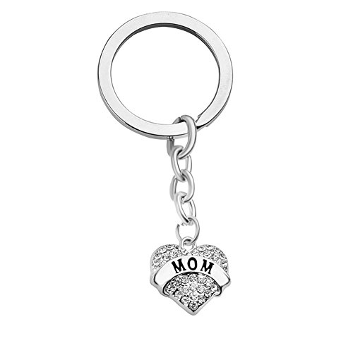 Bling Stars Mother's Day Gift Mom Engraved Keychain Clear Crystal Heart Key Ring