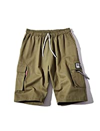 ZXHHL Sports and Leisure Five Points Pants Tide Brand Black Beach Pants