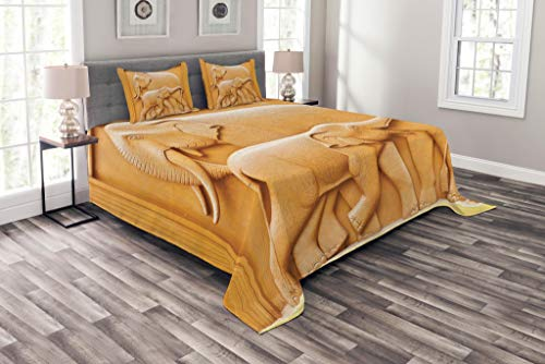 Elephant Artistic Wooden (Lunarable Sculptures Bedspread Set King Size, Carved Wooden Mother Child Baby Elephants African Animals Artistic Design, Decorative Quilted 3 Piece Coverlet Set with 2 Pillow Shams, Apricot Mustard)