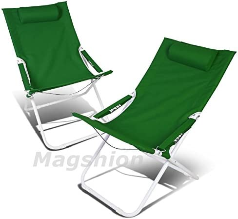Magshion LCA02-GRN Folding Beach Camping Patio Outdoor Travel Recliners Chair 2pc Green