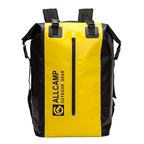 - ALLCAMP 40L Waterproof Dry Bag Backpack for Boating with a Waterproof Case for Mobile Phone and Multi-Functional Bag (Removable), Great for All Outdoor and Water Activities (Black+Yellow)