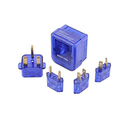 BESTTEN 1875W Voltage Converter Transformer and Universal Travel Adapter Plug Kit for UK/AU/US/EU/Asia Step Down 220V to 110V, 5pc Pack, Blue