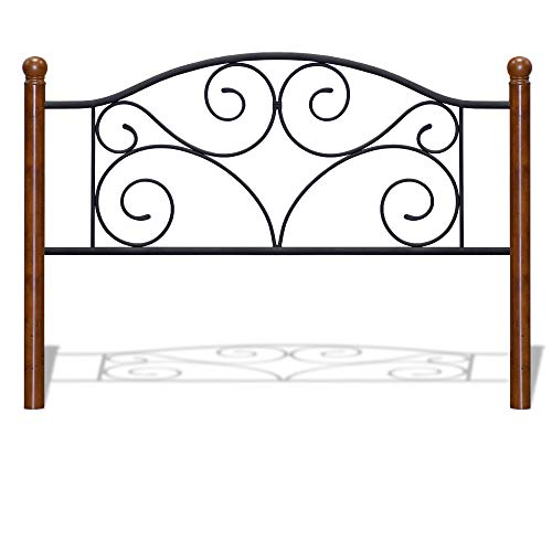 Fashion Bed Group Doral Headboard with Dark Walnut Wood Posts and Metal Grill, King, Matte Black Finish ()