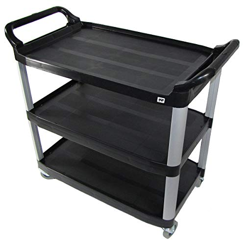 - Crayata Heavy Duty Rolling Utility Cart, Supports up to 350 Pounds, Extra Thick Plastic Shelves, MPC3SM-B 3 Shelf, Black, Small