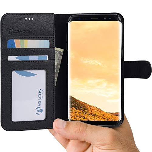 Samsung Galaxy S8 Case, Abacus24-7 Wallet with Flip Cover [RFID Blocking] Credit Cards Pockets and Stand, Black