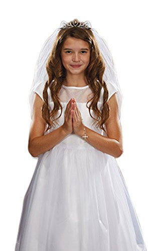 Sacred Traditions Girls First Communion White Satin and Tulle Veil with Crystal Tiara, 26 Inch]()