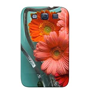 Anti-scuff Bronze Beautiful Flowers Photography Protective Case For Sumsang Galaxy S3