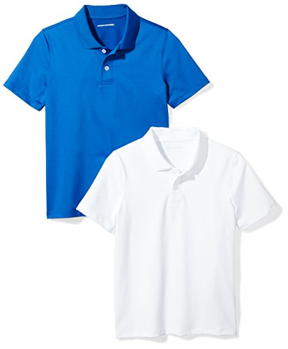 Amazon Essentials Boys' 2-Pack Performance Polo, Royal Blue/White, (Kids Royal Blue Apparel)