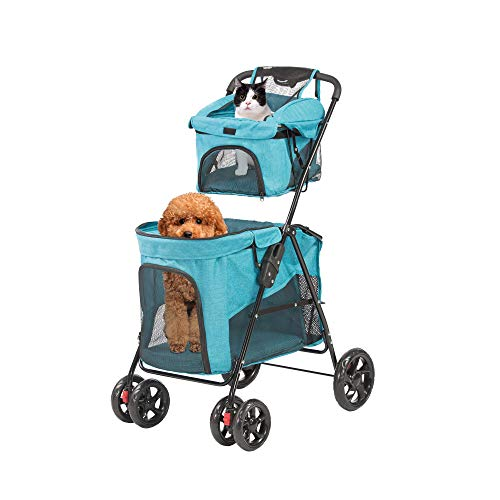 LUCKYERMORE Dog Cat Stroller Double Pet Jogger Stroller Folding Travel Carrier Cart for 2 Kitten Puppy