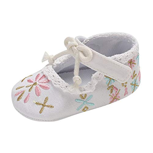 Toddler Infant Baby Girl Shoes Soft Sole Embroidery Lace Sandals Shoes Single Shoes White