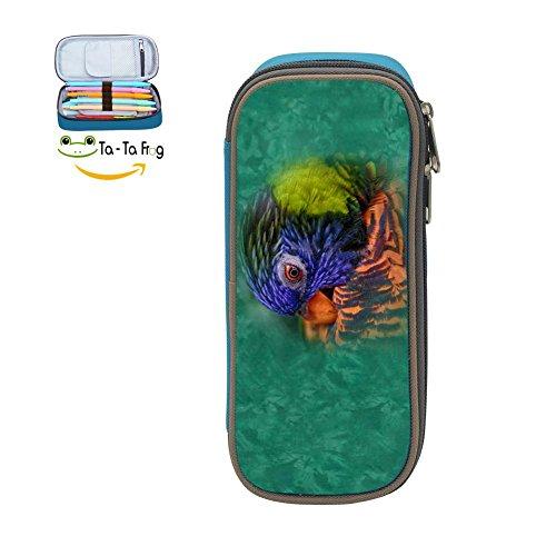 Cute Large Capacity Cool Canvas Pencil Case Pen Bag Parrot Student blue - Fig Parrot