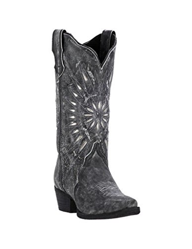 Boots Laredo Black 12 Cowboy - Laredo Womens Black Starburst Leather Cowboy Boots 12in Cutout 7 M