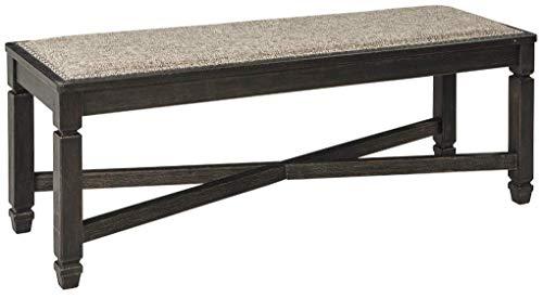 Ashley Furniture Signature Design - Tyler Creek Upholstered Dining Room Bench - Two-Tone - Textured Antique Black Finish (Bench Upholstered Oak)