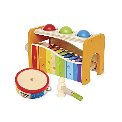 Hape Music Toys for Toddlers - Award Winning Wooden Pound and Tap Bench with Slide Out Xylophone and Tap Along Tambourine - Durable, Non-Toxic, Bright ()