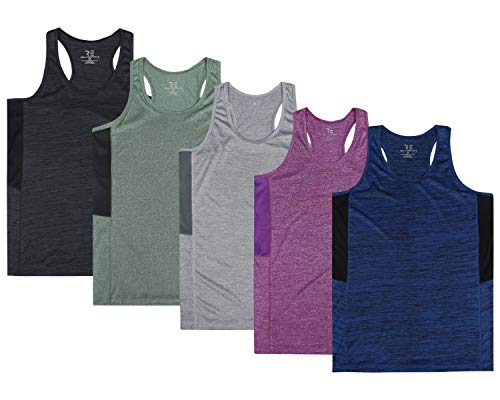 - 5 Pack:Women's Quick Dry Fit Dri-Fit Ladies Tops Athletic Yoga Workout Running Gym Active wear Exercise Clothes Racerback Sleeveless Flowy Tank Top - Set 3,L