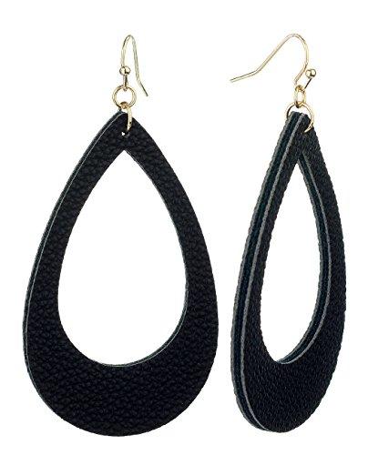 Leather Dangle (Women's Smooth Faux Leather Hollow Teardrop Dangle Pierced Earrings, Black/Gold-Tone)