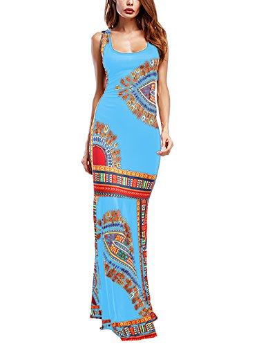 Amoretu Sleeveless African Dashiki Maxi Dress for Women Mermaid Gown Evening Party (Blue, S)