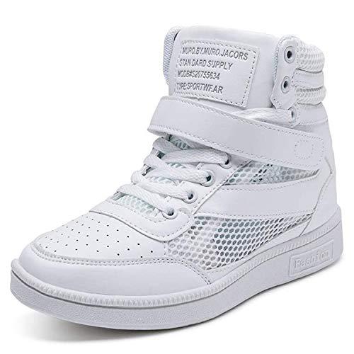 Barerun Women's Athietic Lace Up Sneaker Fashion High Top Walking Shoes White 8.5 M US Women (Shoes High Aerobic Top)