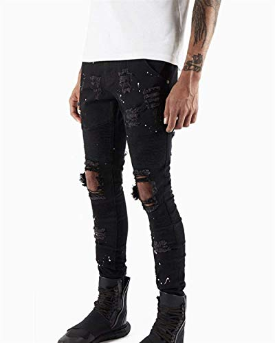 Chern Slim Skinny Uomo Jeans Fori Nero Pantaloni Con In Tratto Scarno Lavati Fit Denim nSzzx6q