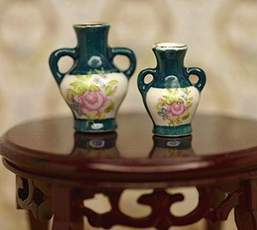 - Dollhouse Miniature Pair of 2 Floral Vases in Dark Green Porcelain