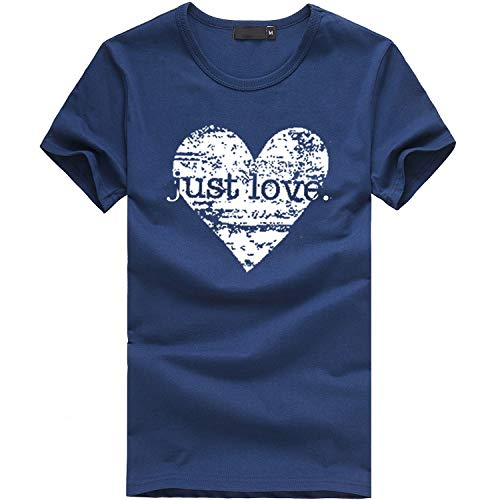 Cute Love Graphic Tee Shirts for Women Teen Girls Short Sleeve Letter Print Cute Tee Shirts Top Navy,XL