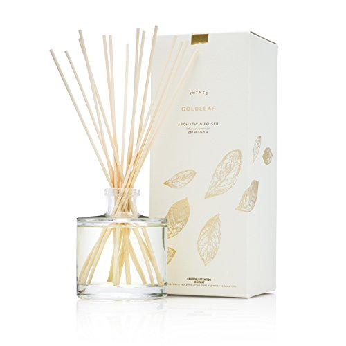 Thymes Oil Reed Diffuser - 6.5 Fl Oz Aromatic COCO OIL Gift Set with Premium Sticks, Glass Bottle and Floral Scented Oil, Gold