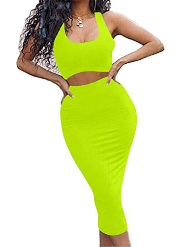 Jeans Top Set Outfit - GOBLES Women's Sexy Summer Outfits Bodycon Tank Top Midi Skirt 2 Piece Dress Fluo Green