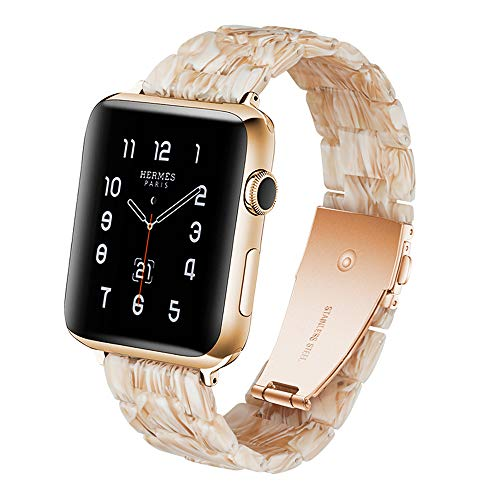 F-wheel Resin Watch Band 38mm 40mm Compatible with Apple Watch Women Men Series 4/3/2/1 with Stainless Steel Buckle, for Party,Work,Date,Running,Filiform White-Tone iWatch Strap,Replacement Wristband