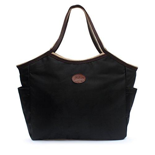 Women's Waterproof Tote Bag Handbag DOIOWN Nylon Tote Shoulder Bags Beach Bags(Black-704)
