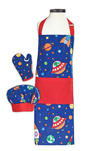 Handstand Kitchen Child's Out of this World 100% Cotton Apron, Mitt and Chef's Hat Gift Set -