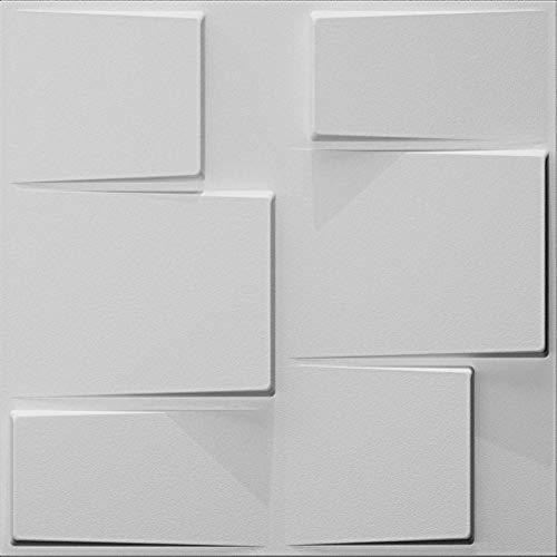 Art3d Plant Fiber Wainscot 3D Wall Panels Matt-White (Set 0f 12) 32 Sq.Ft