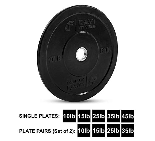 """c Bumper Weighted Plate 2"""" for Barbells, Bars – 45 lb Single Plate - Shock-Absorbing, Minimal Bounce Steel Weights with Bumpers for Lifting, Strength Training, and Working Out ()"""